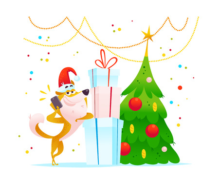 Christmas illustration of cheerful dog character in Santa hat with mobile phone.
