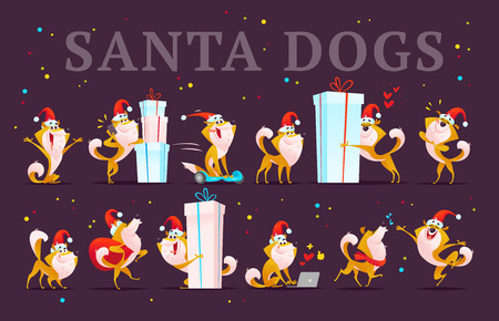 Collection of funny dog emoticons in Santa hat.