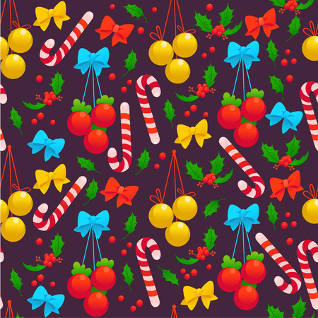 Christmas pattern with decoration Christmas balls, holly berry, bow and candy cane, design illustration.