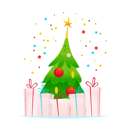 git: Vector Merry Christmas Happy New year illustration of fir tree, gift boxes and confetti isolated on white background.
