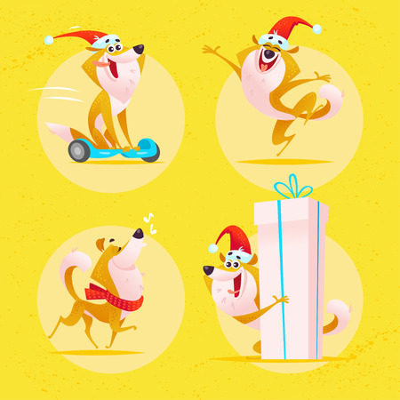 Vector collection of funny dog emoticons in santa hat isolated onyellow background. Happy puppy emoji set. Cartoon style. Good for Merry Christmas & New year media design - card, banner, invitation.