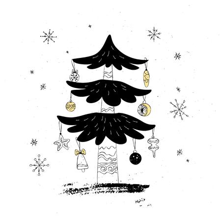 Christmas themed greeting card poster. Çizim