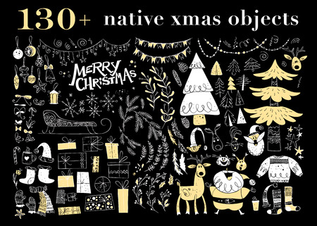 Vector collection of native christmas design elements isolated on black background. Folk inspired hand drawn decoration objects set - fir tree, garland, santa claus, deer, gift box, decoration balls.