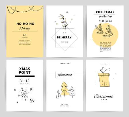 Set of vector Christmas, New year congratulation card designs. Scandinavian style illustration. Simple cute hand made xmas card collection. Contour icon and text message isolated on white background.