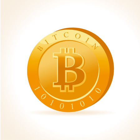 A flat illustration isolated on white background. Cryptocurrency golden symbol. Digital money emblem, golden coin with bitcoin symbol design. Ilustracja
