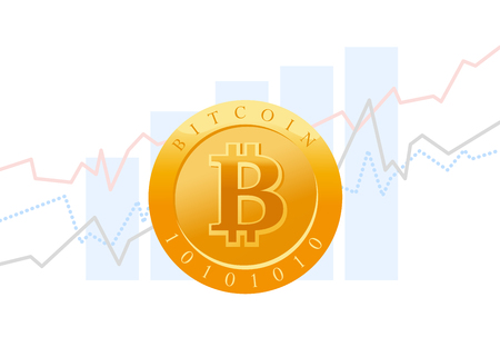 A Vector flat business illustration with graph diagram and golgen coin with bitcoin emblem isoalted on white background. Cryptocurrency mining, digital money symbol.