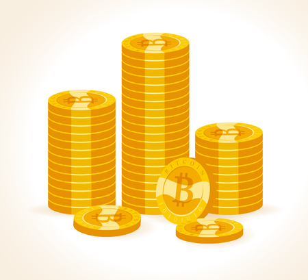 A Vector bitcoin collection flat illustration isolated on white background. Cryptocurrency golden symbol. Digital money pile, bit coin emblem, golden coin with bitcoin symbol design.