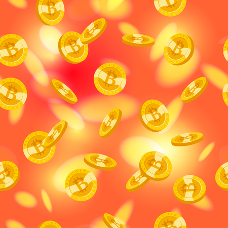 Vector seamless pattern with golden coins falling down isolated on blurred red background. Bitcoin emblem. Cryptocurrrency symbol. Coin with bitcoin sign illustration.