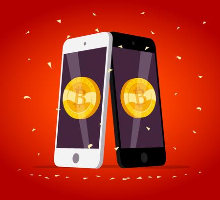 Vectorillustratie met smartphone met gouden munt met bitcoin embleem op het scherm geïsoleerd op rode achtergrond. Symbool voor mobiel apparaat en cryptocurrency. Digitaal geld en gadgetfoto.