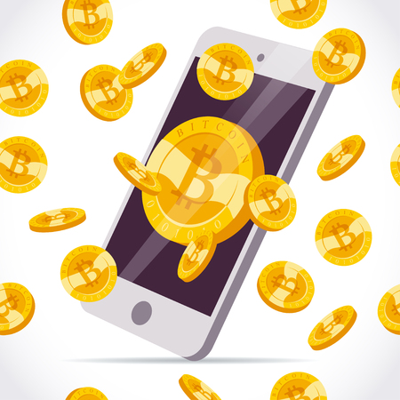Vector illustration with smartphone and set of falling golden coin with bitcoin emblem isolated on white background. Mobile device and cryptocurrency symbol. Digital money and gadget pic.