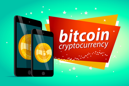 Vector illustration with smartphone and tablet having golden coin with bitcoin emblem on its screen isolated on green background. Mobile device and cryptocurrency symbol. Digital money and gadget pic. Illustration