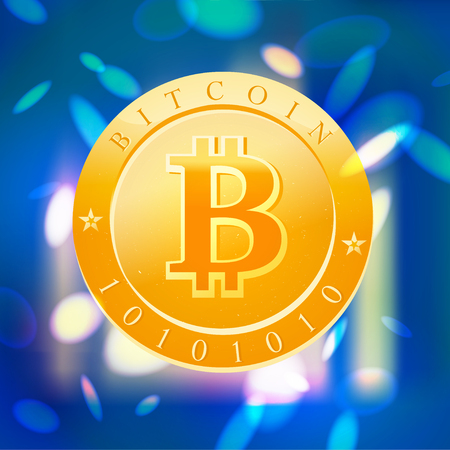 Vector bitcoin flat illustration isolated on blue blurred background. Cryptocurrency golden symbol. Digital money emblem, golden coin with bitcoin symbol design.