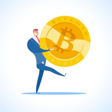 벡터 비트와 성공적인 사업가 평면 그림 흰색 배경에 고립. Cryptocurrency 황금 기호입니다. 디지털 돈 엠 블 럼, 황금 동전 비트 코 인 기호 디자인.