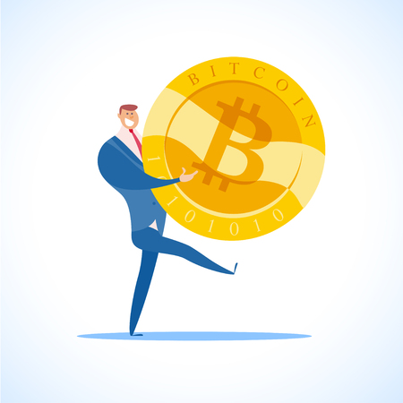 Vector bitcoin and successful businessman flat illustration isolated on white background. Cryptocurrency golden symbol. Digital money emblem, golden coin with bitcoin symbol design.