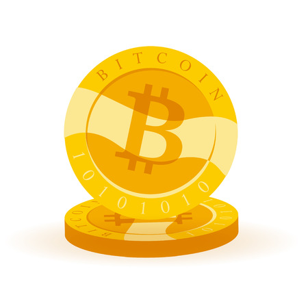 Vector bitcoin flat illustration isolated on white background. Cryptocurrency golden symbol. Digital money emblem, golden coin with bitcoin symbol design.