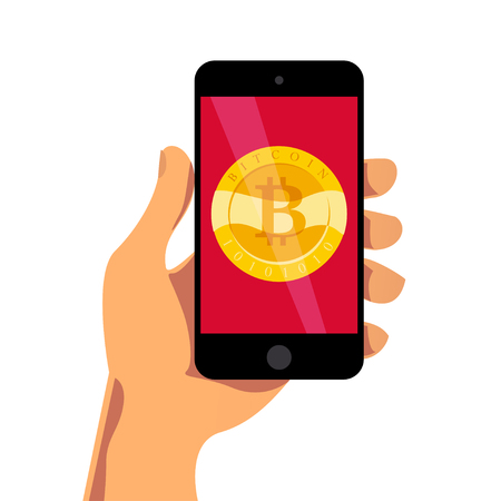 Vector illustration with human hand holding smartphone having golden coin with bitcoin emblem on its screen isolated on white background. Mobile device and cryptocurrency symbol. Digital money, gadget Ilustração