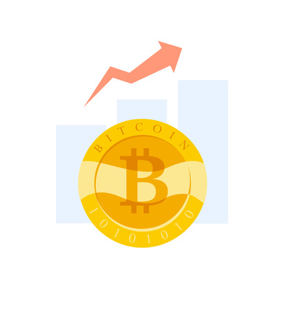 Vector flat business illustration with graph diagram and golgen coin with bitcoin emblem isoalted on white background. Cryptocurrency mining, digital money symbol. Illustration