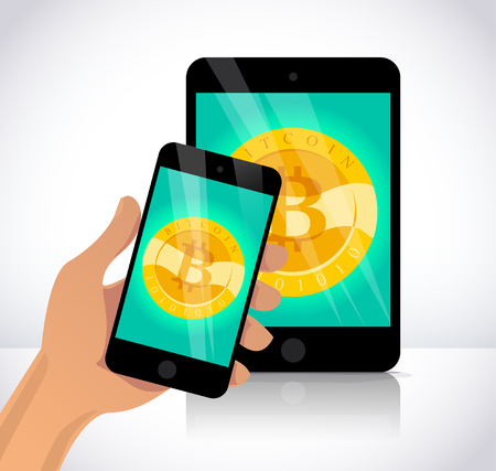 Vector illustration with smartphone and tablet having golden coin with bitcoin emblem on its screen isolated on white background. Mobile device and cryptocurrency symbol. Digital money and gadget pic.