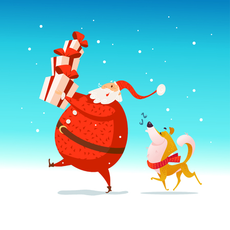 Vector flat merry christmas illustration with happy santa holding gift boxes and dog in santa hat isolated on blue background. Cartoon style. Good for holiday banner, winter leaflet, card design. Illustration