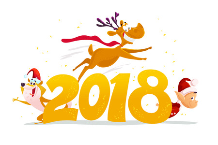 Vector flat merry christmas illustration with funny dog in santa hat, flying deer and santa elf isolated on white background. Cartoon style. Good for holiday banner, card design.