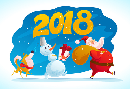 Vector flat merry christmas illustration with dog, snowman, santa walking isolated with christmas presents. Cartoon style. Good for holiday banner, congratulation card design.