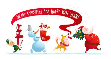 Vector platte vrolijk kerstfeest illustratie met elf, hond, sneeuwpop, santa wandelen geïsoleerd met kerstcadeautjes. Cartoon stijl. Goed voor vakantie banner, felicitatie kaart ontwerp.