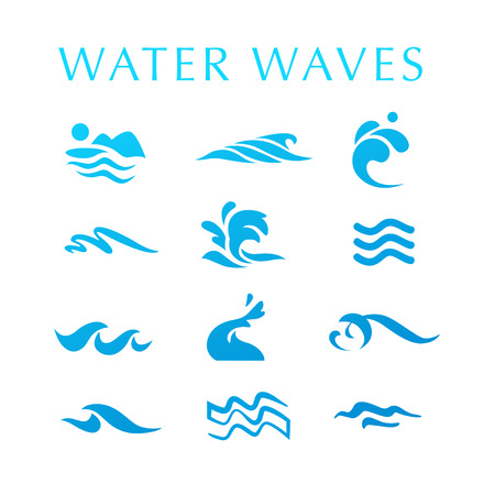 Collection of flat wave icons logo, emblem design blue water splashes symbol, ocean, different sea rolling sign.