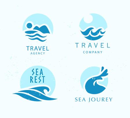 Touristic travel agency company logo design emblem sign blue water wave symbol icon sea tours