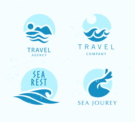 Touristic travel agency company logo design emblem sign blue water wave symbol icon sea tours