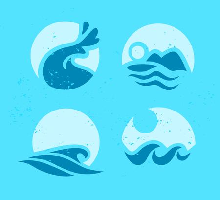 フラットウェーブアイコンのコレクション水ロゴエンブレムデザイン青い水は、海の異なる海の転がりサインを象徴します。  イラスト・ベクター素材