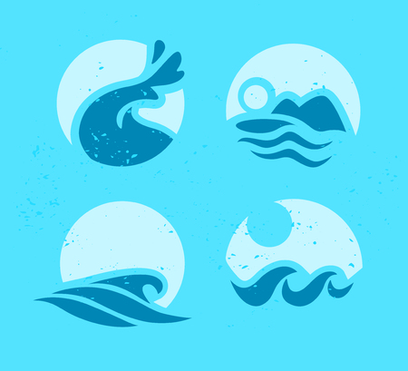 Collection of flat wave icons water logo emblem design blue water splashes symbol ocean different sea rolling sign.