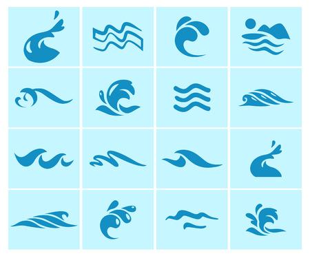 Collectie van platte golf pictogrammen logo embleem ontwerp blauw water spatten symbool oceaan verschillende zee rollende teken.