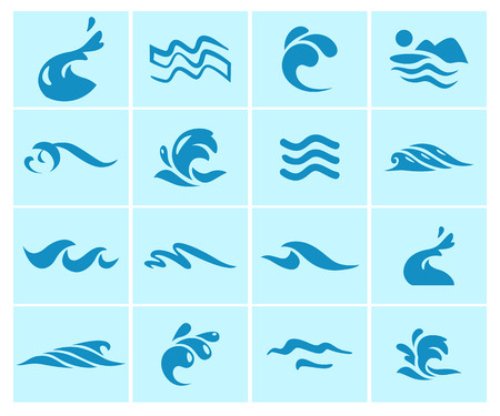 Collection of flat wave icons logo emblem design blue water splashes symbol ocean different sea rolling sign.