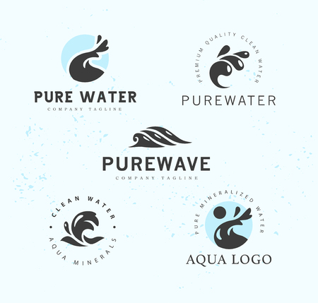 Collection of logotypes waves emblem aqua logo design natural clean eco water symbol sign.  イラスト・ベクター素材