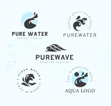 Collection of logotypes waves emblem aqua logo design natural clean eco water symbol sign. Illustration