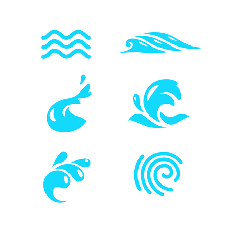 Vector collection of flat water wave icons isolated on white background. Water logo, emblem design. Blue water splashes symbol, ocean, different sea waves rolling sign.