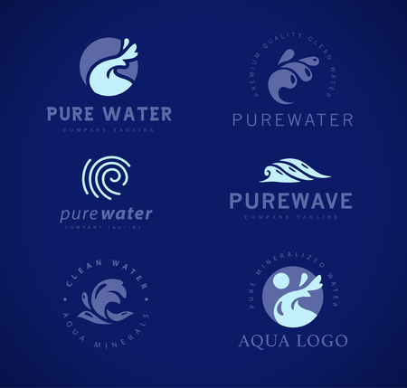 Vector flat collection of pure water logotypes isolated on dark blue background. Water waves emblem isolated. Aqua logo design. Natural clean eco water symbol, sign.  Çizim