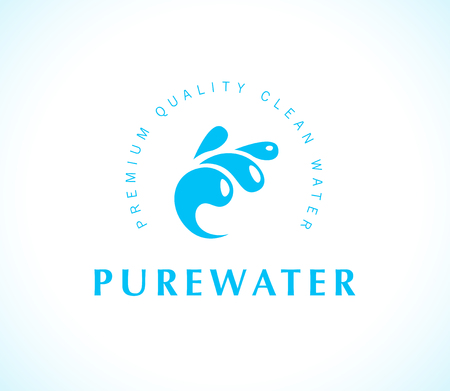 Vector flat pure water logotype isolated on white background. Water waves emblem isolated. Aqua logo design. Natural clean eco water symbol, sign.