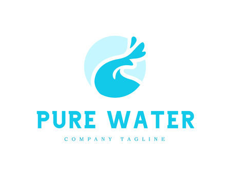 Vector flat pure water isolated on white background. Water waves emblem isolated. Aqua design Natural clean eco water symbol, sign.
