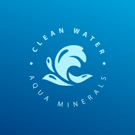 Vector flat pure water isolated on dark blue background. Water waves emblem isolated. Aqua design. Natural clean eco water symbol, sign.