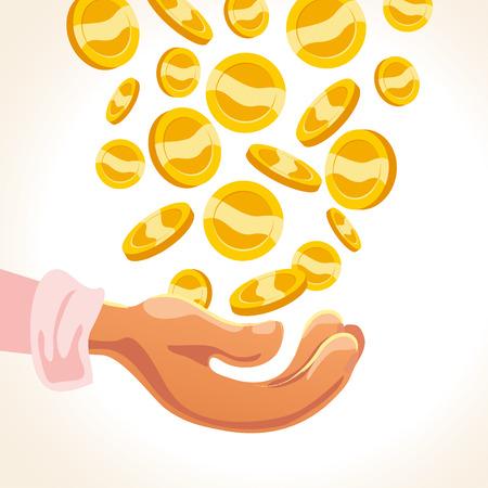 Insieme delle monete dorate di vettore piano fallin e mano umana isolato su priorità bassa bianca. Le monete impilano, illustrazione del mucchio. Simbolo di cassa, segno Elemento di gioco. Archivio Fotografico - 91495086