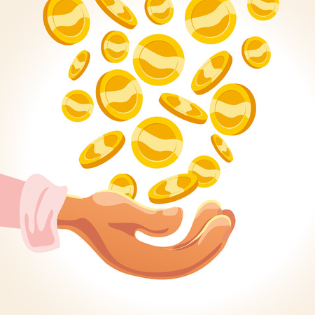 Set of flat vector golden coins fallin and human hand isolated on white background. Coins stack, pile illustration. Cash symbol, sign. Game money element.
