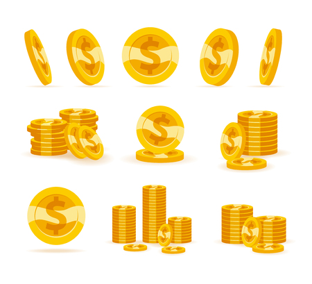 Set of flat golden coins isolated on white background.