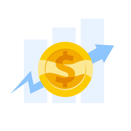 Vector flat business illustration of graphics and diagram and arrow with golden coin with dollar sign isolated on white background. Money growth. Finance strategy. Illustration