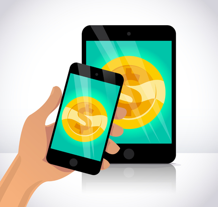 Vector flat illustration with human hand holding smartphone, tablet and golden coin on its screen isolated on white background. Electronic gadget. Gold coin icon with dollar symbol.