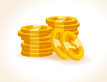 Set of flat vector golden coins isolated on white background. Coins stack, pile illustration. Cash symbol, sign. Game money element.  Illustration