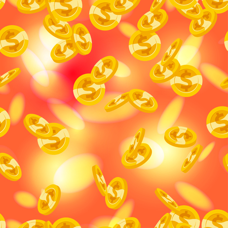 Vector seamless pattern with falling golden coins isolated on red blurred background. Money rain illustration. Currency sign, gold cash coins.