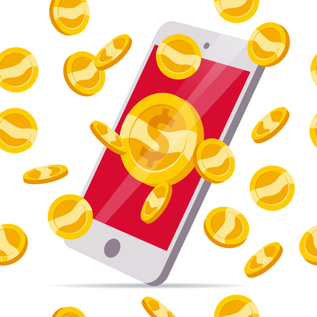Vector seamless pattern with falling golden coins and smartphone isolated on white background. Money rain illustration. Currency sign, gold cash coins.