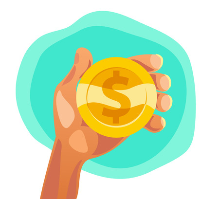 Vector flat illustration of human hand holding golden coin with dollar sign isolated on white backgound.  Illustration