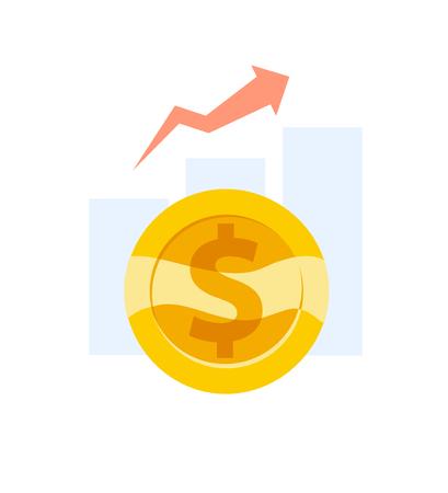 Moneta d'oro con l'icona del grafico a barre. Archivio Fotografico - 92051018